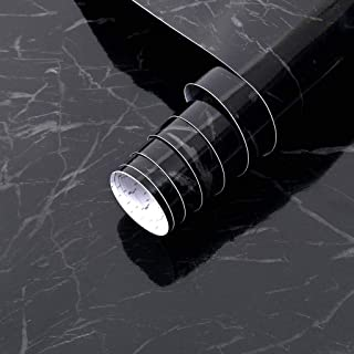 Arthome Black Marble Paper,Self Adhesive Wallpaper Waterproof Gloss PVC Vinyl, Oil Proof, Granite Paper,Black Marble Vinyl...