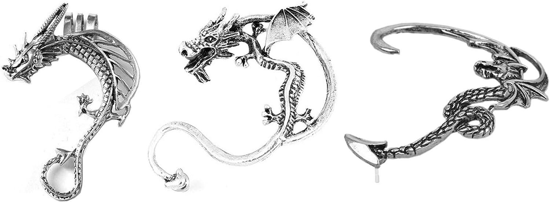 Three Cute Little Pewter Dragon Earrings Earcuffs