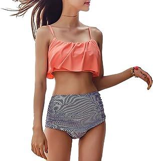 GGTFA 2 Piezas de Falbala de Talle Alto Relleno Bikini Set de Playa Traje de Baño