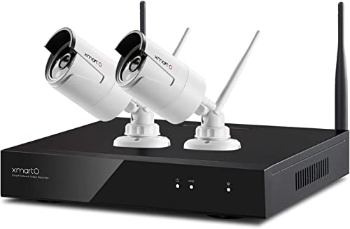 [Audio Compatible & Expandable] xmartO Wireless Security Camera System 4CH 1080p HD NVR with 2pcs 960p HD 1.3MP Indoo...