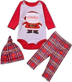LvRao 2Pcs Family Matching pjs Christmas Santa Claus Outfits Long Sleeve T-Shirt Romper Plaid Long Pants Pajamas Set