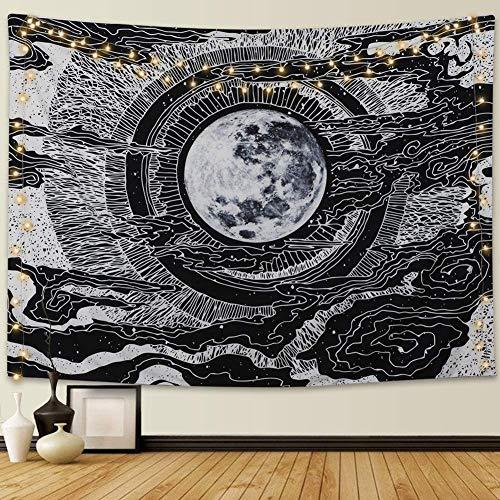 Dremisland Mond & Stern Wandteppich Wandbehang Mandala Tuch Wandtuch Tarot Tapisserie Schwarz Weiss Wandkunst für Wohnzimmer Schlafzimmer Dekor (Mond, L/148x200cm)
