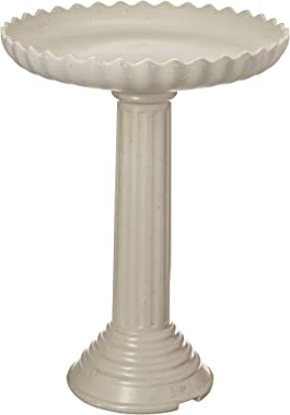 Farm Innovators Model HBC-120C All Seasons Decorative Gray Stone Scalloped Heated Birdbath With Pedestal, 120-Watt