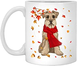 Cute Schnauzer Dog Autumn Thanksgiving Gifts 11 oz. White Mug