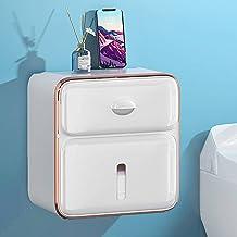 Wandgemonteerde Papieren Handdoek Dispenser, Rolls Tissue Houder Doos, Met Kleine Lade, ABS Materiaal, Zelfklevende Badkam...