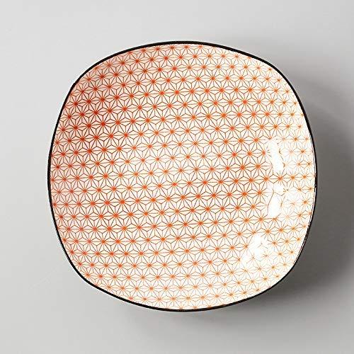 YAeele Estilo Europeo simples de la casa de estilo japonés y la placa cuadrada esmalte de cerámica bajo el plato Snack-placa plato rojo por completo de la estrella profundo plato cuadrado 19.6X4.5Cm F