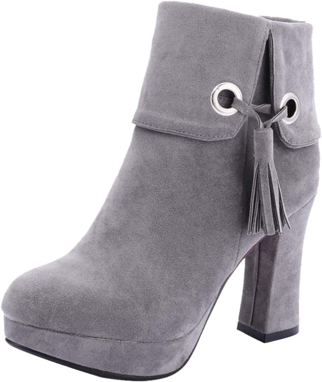 TAOFFEN Women Fashion Block Heel Short Boots Zip