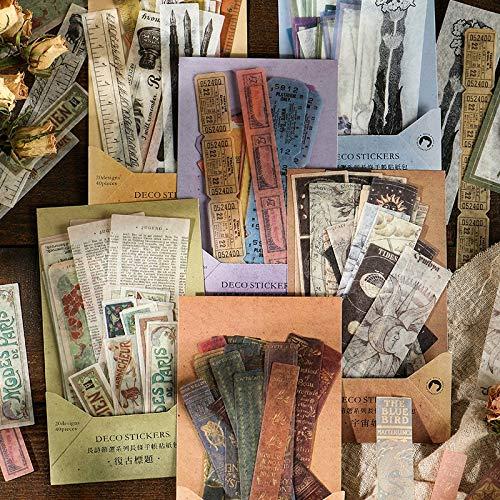 BLOUR 40 pièces Vintage Antique Bill règle Billets Vieux Livre Papier washi Autocollant décoration Autocollants Bricolage Journal Scrapbooking étiquette Autocollant