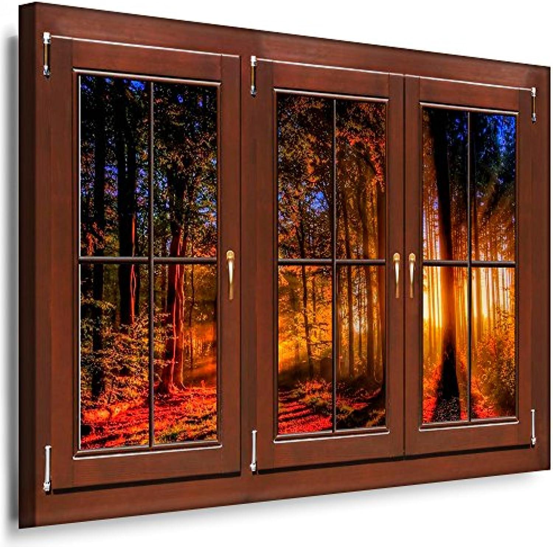 BOIKAL XXLF88-1 3D Effekt Bilder Fensterblick Deko Wandbild fertig gerahmt  Leinwand glanz  Kunstdruck Wald im Herbst Sonne