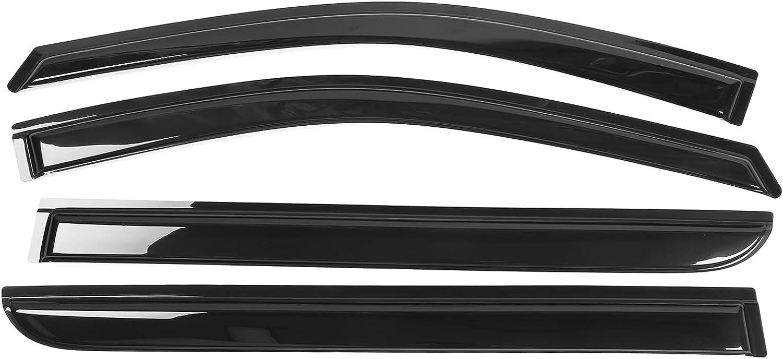 Window Visor Compatible With 2008-2010 Honda Odyssey, Acrylic Smoke Tinted 4PCS Sun Rain Shade Guard Wind Vent Air Deflector by IKON MOTORSPORTS, 2009