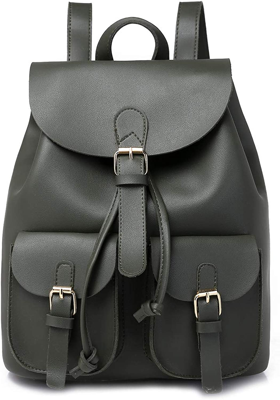 MAGAI Frauen Pu Leder Rucksack Geldbrse Casual Schultertasche Schultasche für Mdchen (Farbe   Dark Grün)
