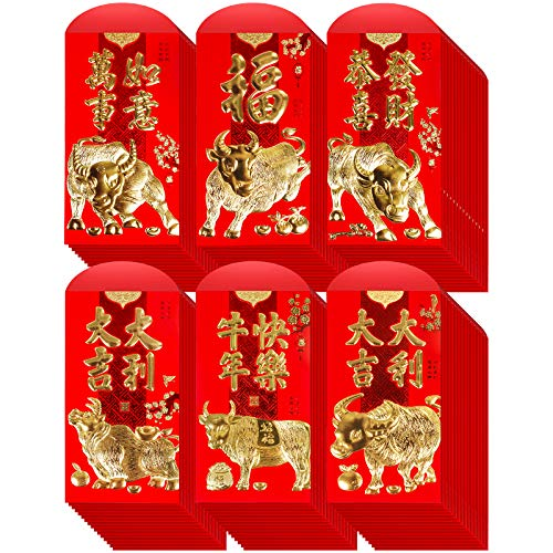 Supla 120 Pcs Chinese New Year Red Envelopes Hong Bao Chinese Lucky Money Gift Envelopes Red Packet Lai See Lucky Packet Cash Envelopes Red Pockets for 2021 Chinese Ox Year Wedding Birthday