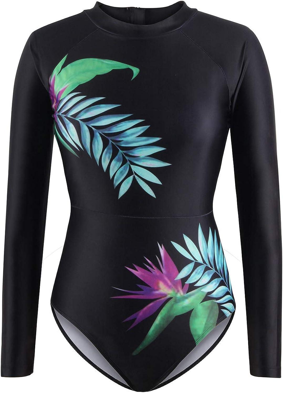 Kisscynest Women's UPF 50+ Leaf Print Long Sleeve Rash Guard 1 Piece Swimwear Black L
