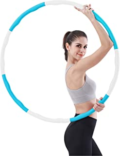Weighted Hula Hoop, Fitness Hula Hoops for Carrying,Adjustable Width 48-88cm (26.8-34.6in),8 Sections,1 kg (2.2lbs),Gift for Exercised Women Lose Weight and Fitness