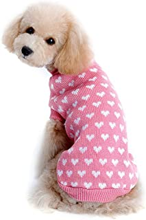 succeedtop Pet Clothes for Girls Love Heart Pet Dog Sweater Pet Apparel for Small Dogs Cute Pet Dog Cat Vest Clothing Smal...