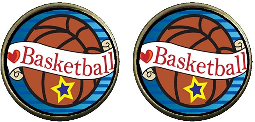 GiftJewelryShop Bronze Retro Style Heart Basketball Photo Clip On Earrings 14mm Diameter