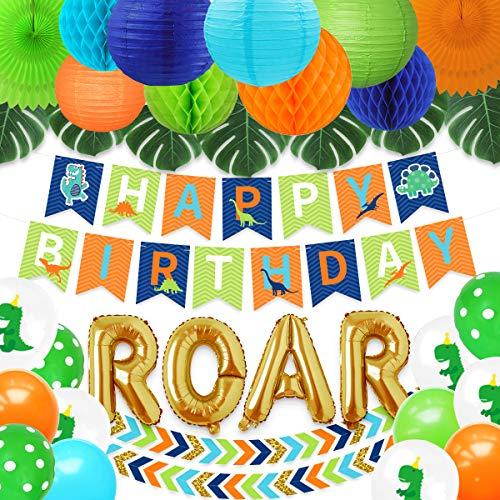 NICROLANDEE - Decoración de fiesta de dinosaurio - Juego de decoración de cumpleaños de dinosaurio dorado con globos de coloridos guirnalda de papel con abanico y hojas de palma artificiales