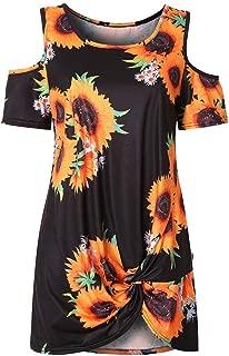 Mogogo Womens Casual Top Open Shoulder Print Twist Tunics Blouse Shirt