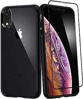 iPhone XR Case, Spigen Ultra Hybrid 360 Designed & Tempered Glass Screen Protector Black