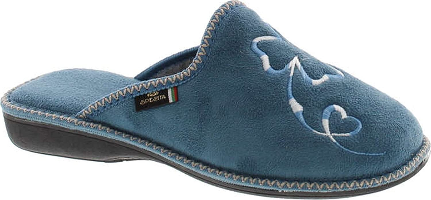 Sc Home Collection Womens 14117 Plush Embroidered House Slippers Made In Europe