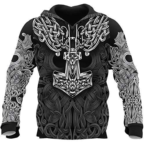 SMYUI Uniesx 3D-Druck Drawstring Hoodies mit Großen Taschen Viking Pattern modischer Hoodie Herren Dünnschliff-Viking XL