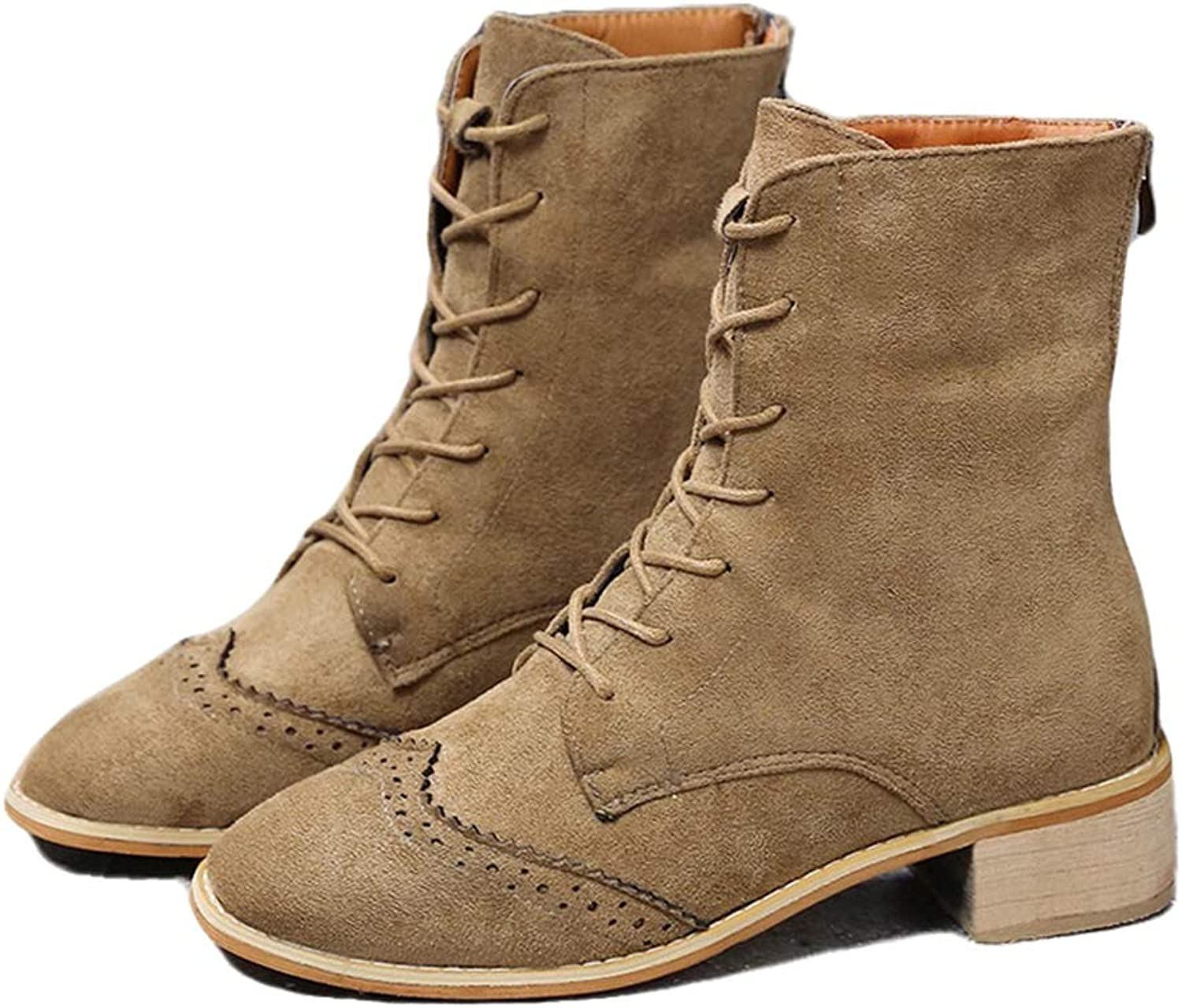 York Zhu Women Boots - Lace Up Faux Leather Women Combat Booties Motorcycle