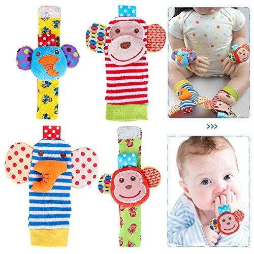 Toyvian Muñecas de Animales sonajeros Manos Buscadores de pies Juguetes de Desarrollo para bebés bebés 2 Pares (Mono y Elefante)