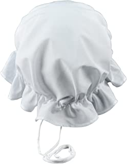 Colonial Amish Mob Cotton Hat Womens White Bonnet Poor Girl, Maid, or Pilgrim Costume