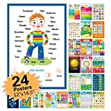 """24 Pack Educational Posters for Preschool,Classroom Decorations and Decor Earply Learning Chart for Nursery Homeschool Kindergarten Classroom (12""""X16.5"""")"""
