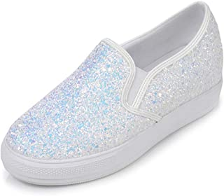 Bonrise Women's Sparkly Lace up Fashion Sneakers Casual Weight Sparkle Slip On Wedge Platform Sneaker