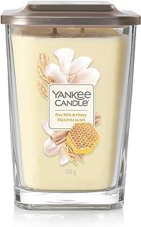 Yankee Candle Grande bougie parfumée carrée à 2 mèches avec couvercle plateforme, collection élévation, lait de riz et mie...