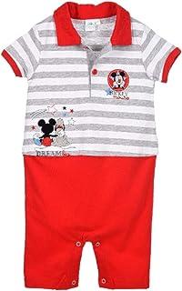 Strampler Polo Baby Jungen Disney Mickey Blau und Rot von 3 bis 18 Monaten