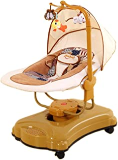 ALUA- Toddler Rocker Infant Bouncers Balance Newborn Baby Cradle Bed Bluetooth Music Children's Automatic Intelligent Shaker (Color : Coffee Color)