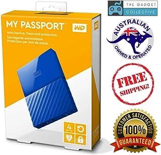 قرص صلب خارجي ماي باسبورت من ويسترن ديجيتال بسعة 4 تيرا، بمنفذ يو اس بي 3.0، ازرق - WDBYFT0040BBL