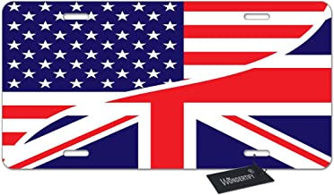 WONDERTIFY License Plate USA American Flag and The Union Jack British Flag Decorative Car Front License Plate,Vanity Tag,Metal Car Plate,Aluminum Novelty License Plate,6 X 12 Inch (4 Holes)
