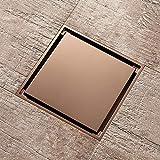 Square Floor Drain Rose Gold, 4 inches Brass Floor Drain, Toilet Balcony Bathroom Shower Anti-Odor Drains Tile Insert, Hair Strainer,D