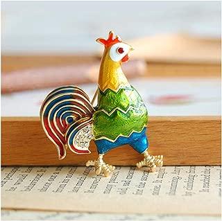 Colorful Enamel Turkey Cock Rooster Cockerel Chicken Diamante Brooch Pin Unique Zodiac Animal brooches Costume Corsage Jewelry