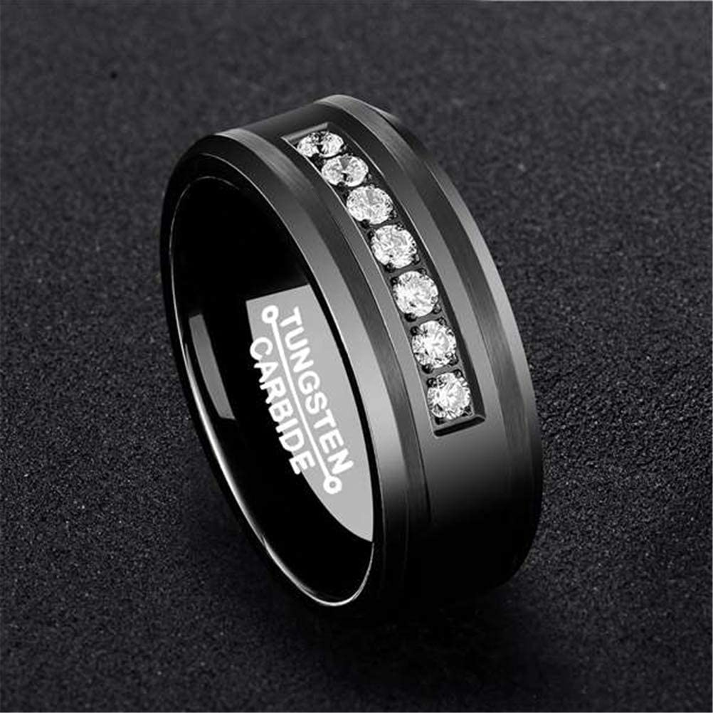 Mens Black 8mm Tungsten Carbide Ring Vintage Cubic Zirconia Wedding Jewelry Engagement Promise Band for Him Matte Finish Comfort Fit
