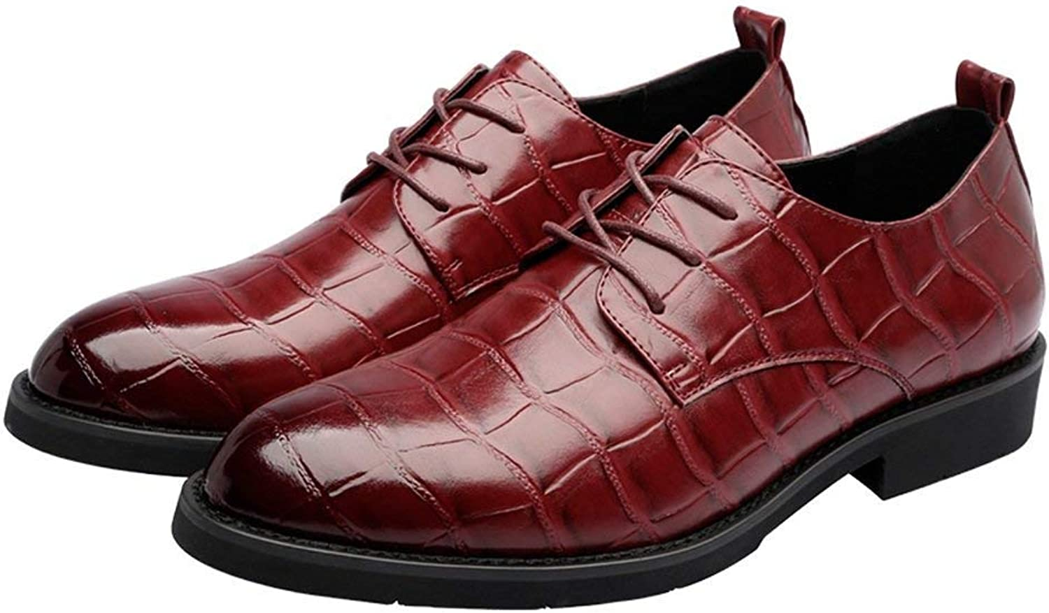 Hhgold 2018 Men PU Leather shoes Square Texture Upper Lace up Breathable Business Low Top Lined Oxfords (Loafers Optional) (color  Loafers, Size  37 EU) (color   Wine, Size   43 EU)