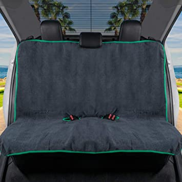 BDK UltraFit Car Seat Towel Cover, Rear Bench with Mint Trim – Waterproof Machine-Washable Sweat Protector, Ideal for Gym Swimming Surfing Running Crossfit, Universal Fit for Auto Truck Van and SUV: image