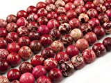 Beads Ok, Abalorios Cuentas Piedra Semipreciosa Jaspe Imperial Rojo Teñido Esferas Bola Redonda 8mm~38cm un Tira, Vendido por Tira. 8mm Round Colored Red Imperial Jasper Gemstone Beads