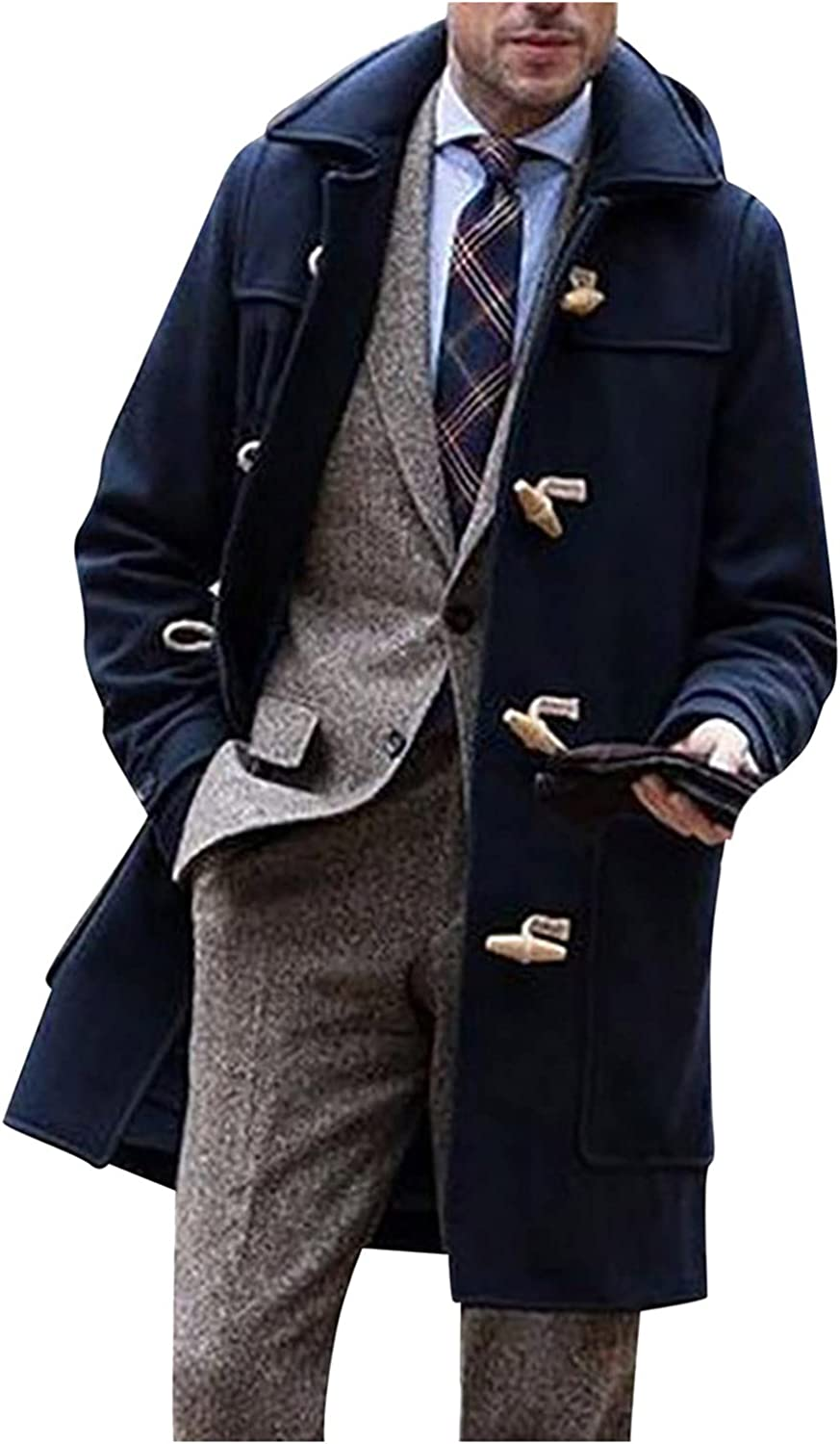 Huangse Men's Classic Notched Lapel Single Breasted Trench Coat Autumn Winter Mid-Length Button Down Peacoat