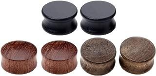 6pcs Organic Wood Brown Black Double Flared Ear Saddle Plugs Stretcher Punk Piercing Gauge 10mm - 20mm