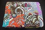Mango Gifts Patchwork-Tagesdecke, 100 prozent Baumwolle, indische Kantha-Steppdecke, wendbar, Größe ca. 152 x 228 cm