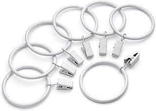 Mmbox Lot de 40 anneaux de rideaux blancs vintage - Résistants à la rouille - Diamètre intérieur de 3,8 cm