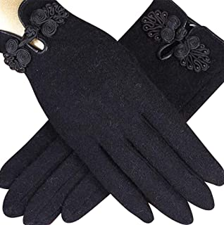 SGJFZD Women's Wool Gloves and Chinese Knot Suitable for Winter Warm Ladies' Solid Gloves (Color : Black, Size : OneSize)