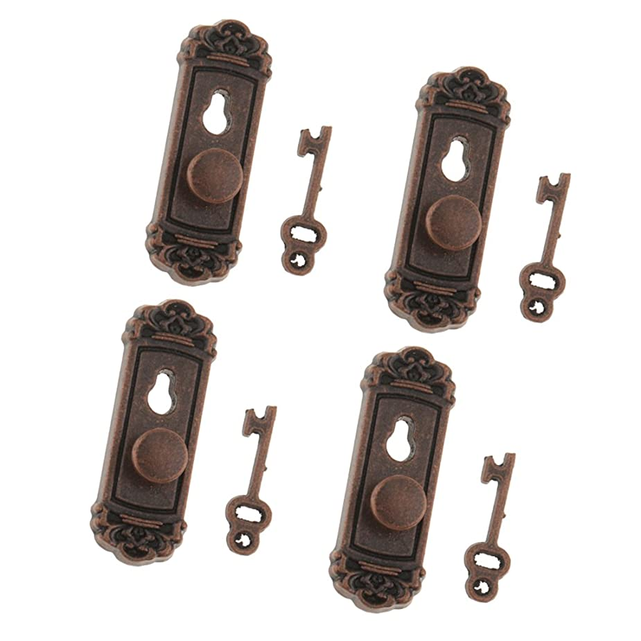 うれしい条約下に向けますToygogo 4セット ドアロック ドアノブ キー 鍵付き 金属製 1/12スケール ドールハウス装飾