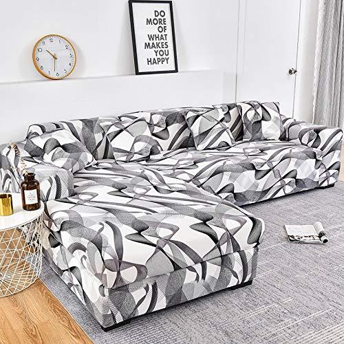 WXQY Funda de sofá de Esquina para Sala de Estar Funda de sofá elástica Toalla de sofá elástica Funda de sillón Chaise Longue en Forma de L A19 2 plazas