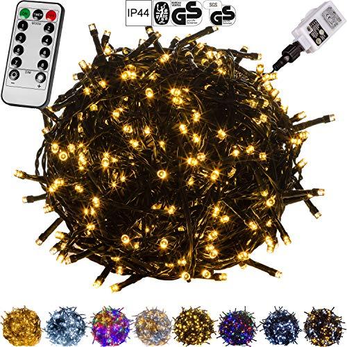VOLTRONIC® LED Lichterkette für innen und außen, Größenwahl: 50 100 200 400 600 LEDs, warmweiß/kaltweiß/bunt/warmweiß+kaltweiß, GS geprüft, IP44, optional mit 8 Leuchtmodi/Fernbedienung/Timer