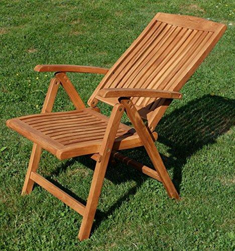 ASS Teak Design Hochlehner Gartensessel Gartenstuhl Sessel Holzsessel Klappsessel Gartenmöbel Holz sehr robust 7fach…
